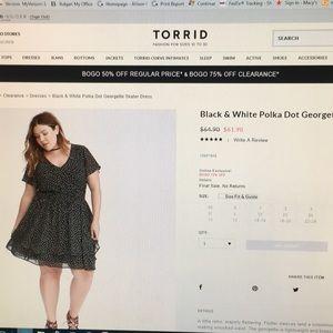 Black & white skater dress.